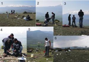 Alcuni momenti della realizzazione dei monumenti GPS in area epicentrale